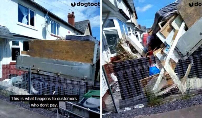 Il cliente si rifiuta di pagare così l'impresa di pulizie scarica immondizia sulla soglia di casa