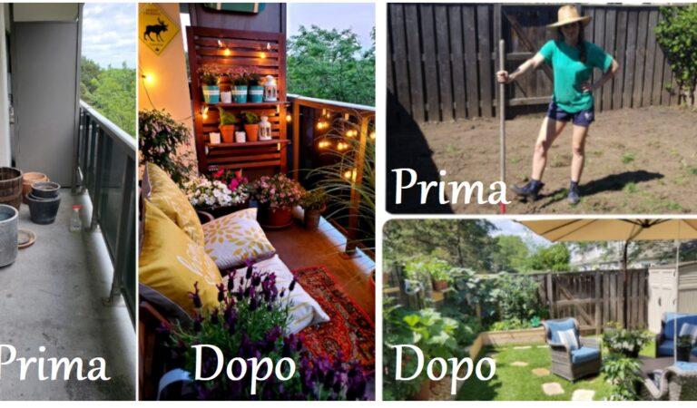16 foto prima e dopo di progetti di giardini realizzati durante il lookdown