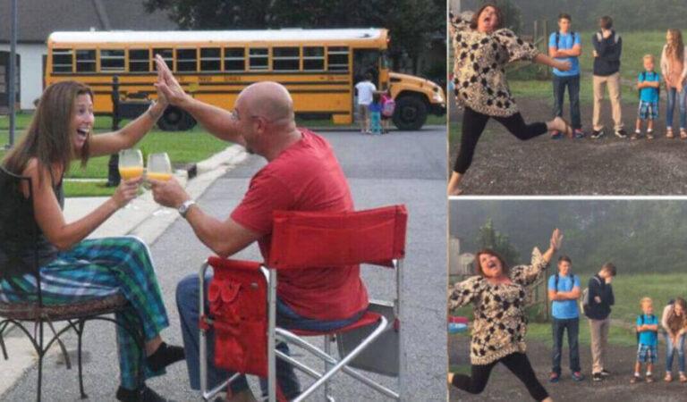 19 foto divertenti di genitori che festeggiano il rientro a scuola dei loro figli